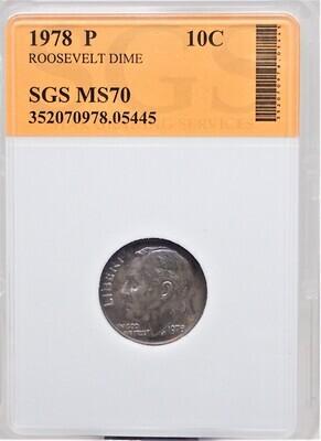 1978 P ROOSEVELT DIME SGS MS70 05445