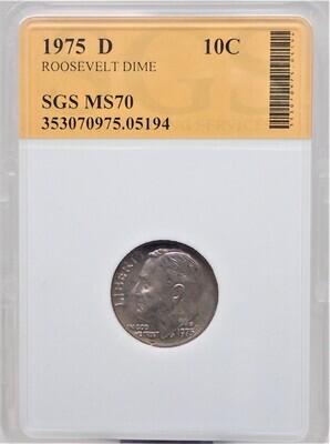 1975 D ROOSEVELT DIME SGS MS70 05194
