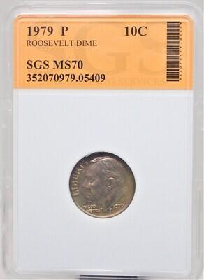 1979 P ROOSEVELT DIME SGS MS70 05409