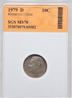 1979 D ROOSEVELT DIME SGS MS70 05502