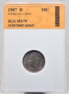 1987  D ROOSEVELT DIME SGS MS70 05547