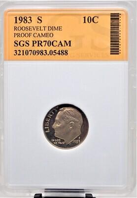1983 S ROOSEVELT DIME (PROOF CAMEO) SGS PR70CAM 05488