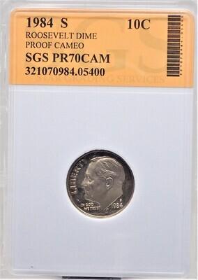 1984 S ROOSEVELT DIME (PROOF CAMEO) SGS PR70CAM 05400