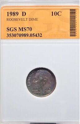 1989 D ROOSEVELT DIME SGS MS70 05432