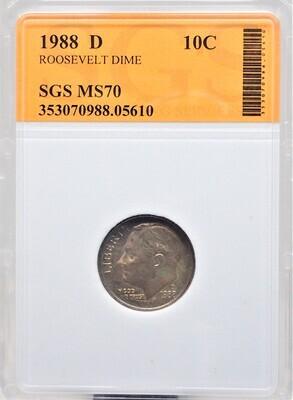 1988 D  ROOSEVELT DIME  SGS MS70 05610
