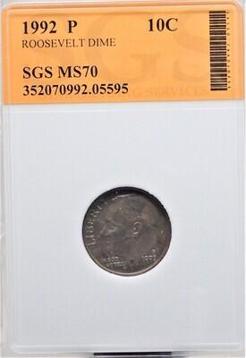 1992 P ROOSEVELT DIME SGS MS70 05595