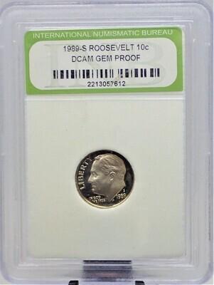 1989 S ROOSEVELT DIME CAMEO GEM PROOF INB 2213057612