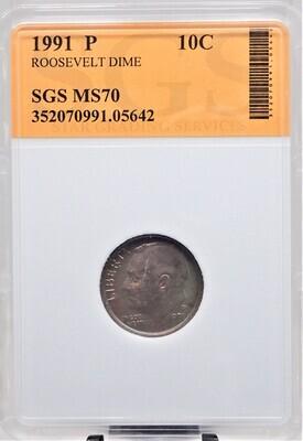 1991 P ROOSEVELT DIME SGS MS70 05642