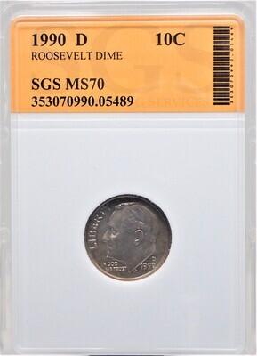 1990 D ROOSEVELT DIME SGS MS70 05489