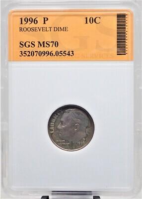 1996 P ROOSEVELT DIME SGS MS70 05543