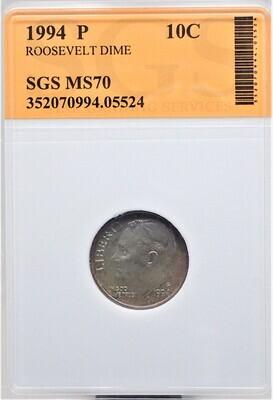 1994 P ROOSEVELT DIME SGS MS70 05524