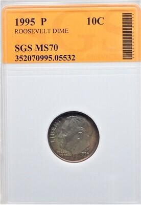 1995 P ROOSEVELT DIME SGS MS70 05532