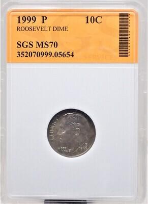 1999 P ROOSEVELT DIME SGS MS70 05654