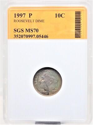 1997 P ROOSEVELT DIME SGS MS70 05446