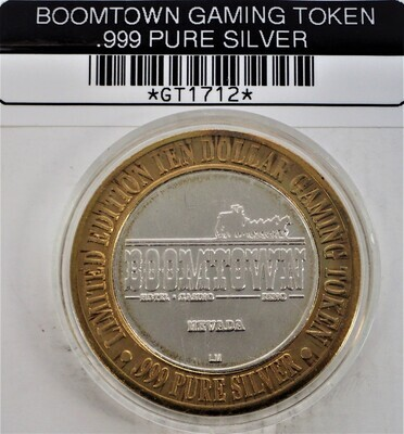 BOOMTOWN GAMING TOKEN OVER HALF OZT SILVER GT51712