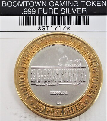 BOOMTOWN GAMING TOKEN OVER HALF OZT SILVER GT51717