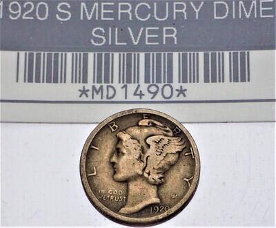 1920 S MERCURY DIME (SILVER) MD1490