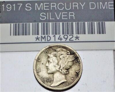 1917 S MERCURY DIME (SILVER) MD1492