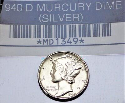 1940 D MERCURY DIME (SILVER) MD1349