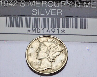 1942 S MERCURY DIME (SILVER) MD1491