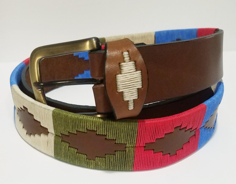 """Leather stitched Polo Belt Unico 85CM (30-32"""")"""