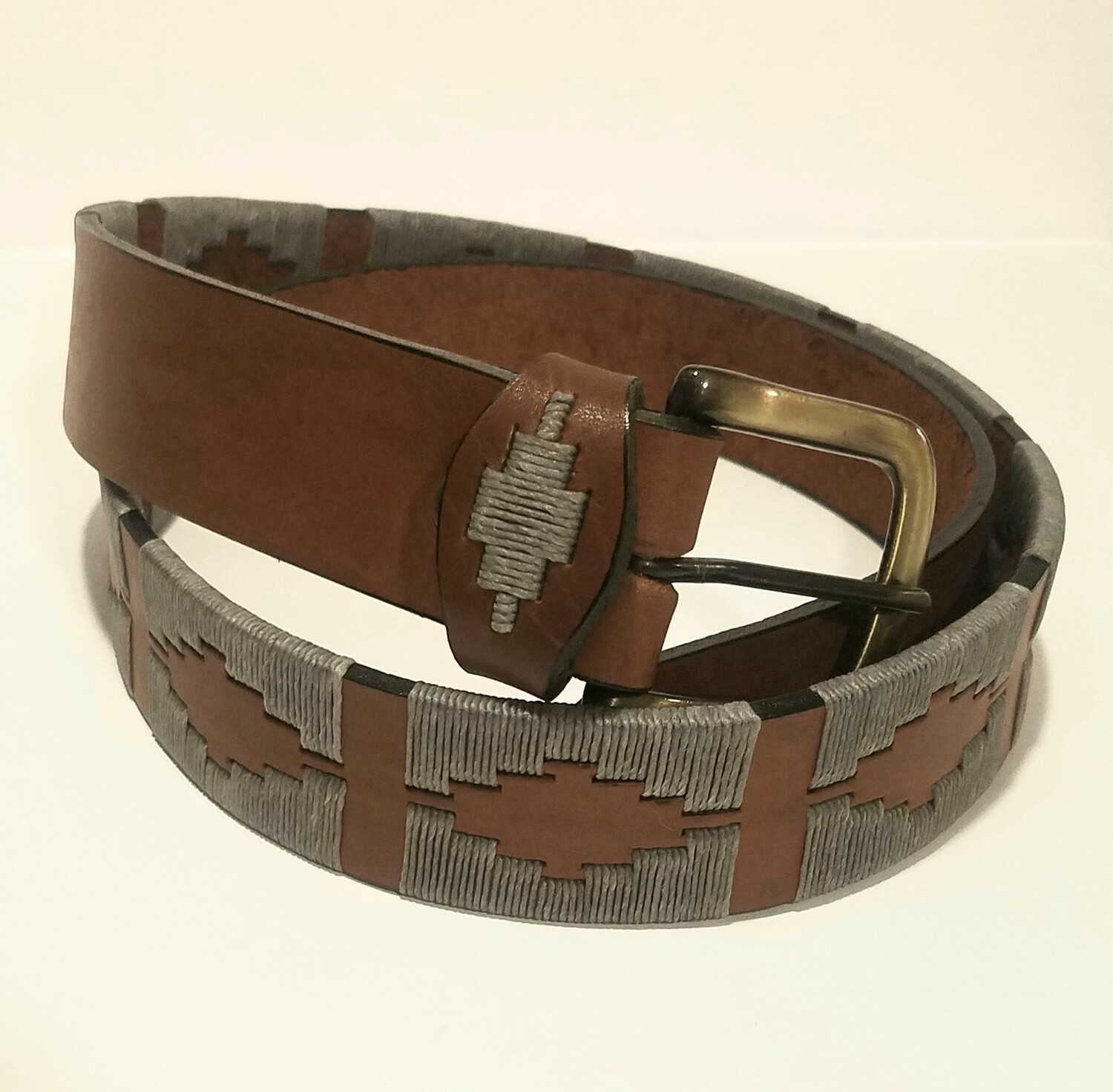 """Leather stitched Polo Belt Gris 90CM (32-34"""")"""