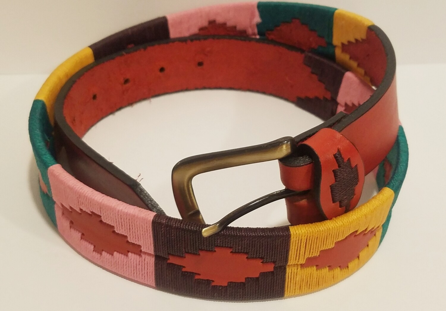 "Leather stitched Polo Belt Her Size 100CM (36-38"")"