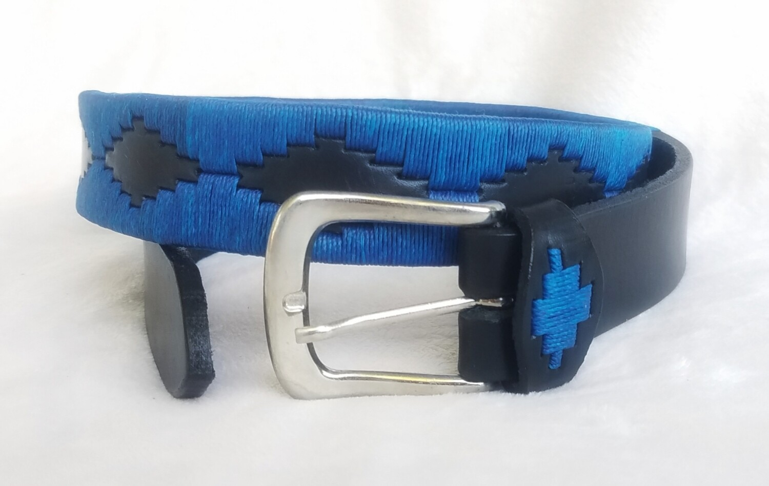 Leather stitched Polo Belt Blue 90CM