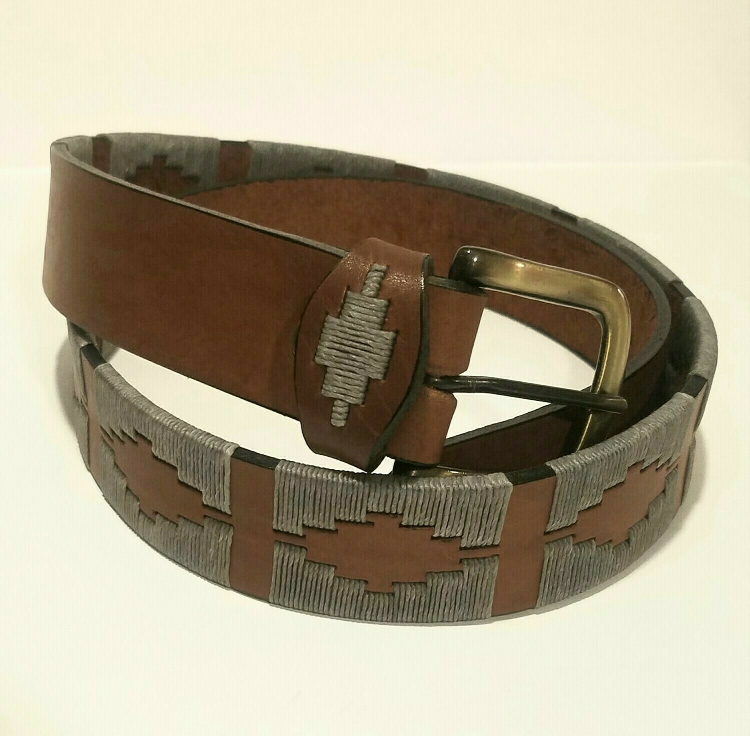 """Leather stitched Polo Belt Gris 85CM (30-32"""")"""