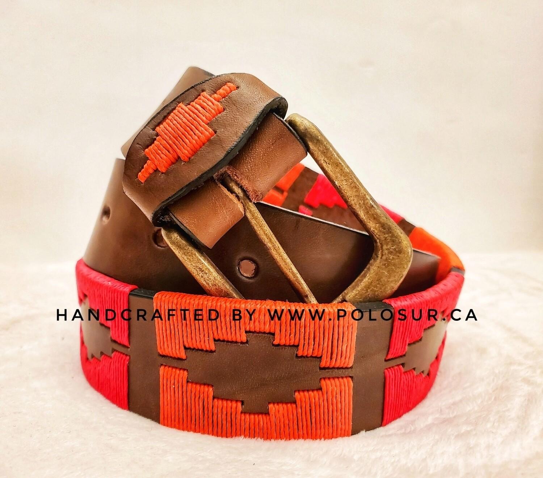 "Leather stitched Polo Belt Sorrel 85CM (30-32"")"