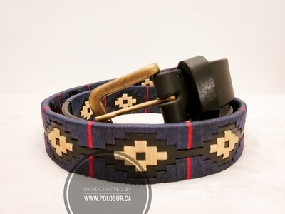 """Leather stitched Polo Belt Luxembourg 105CM (38-40"""")"""