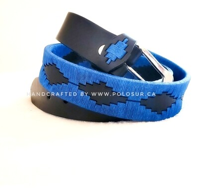 "Leather stitched Polo Belt Blue 85CM (30-32"")"