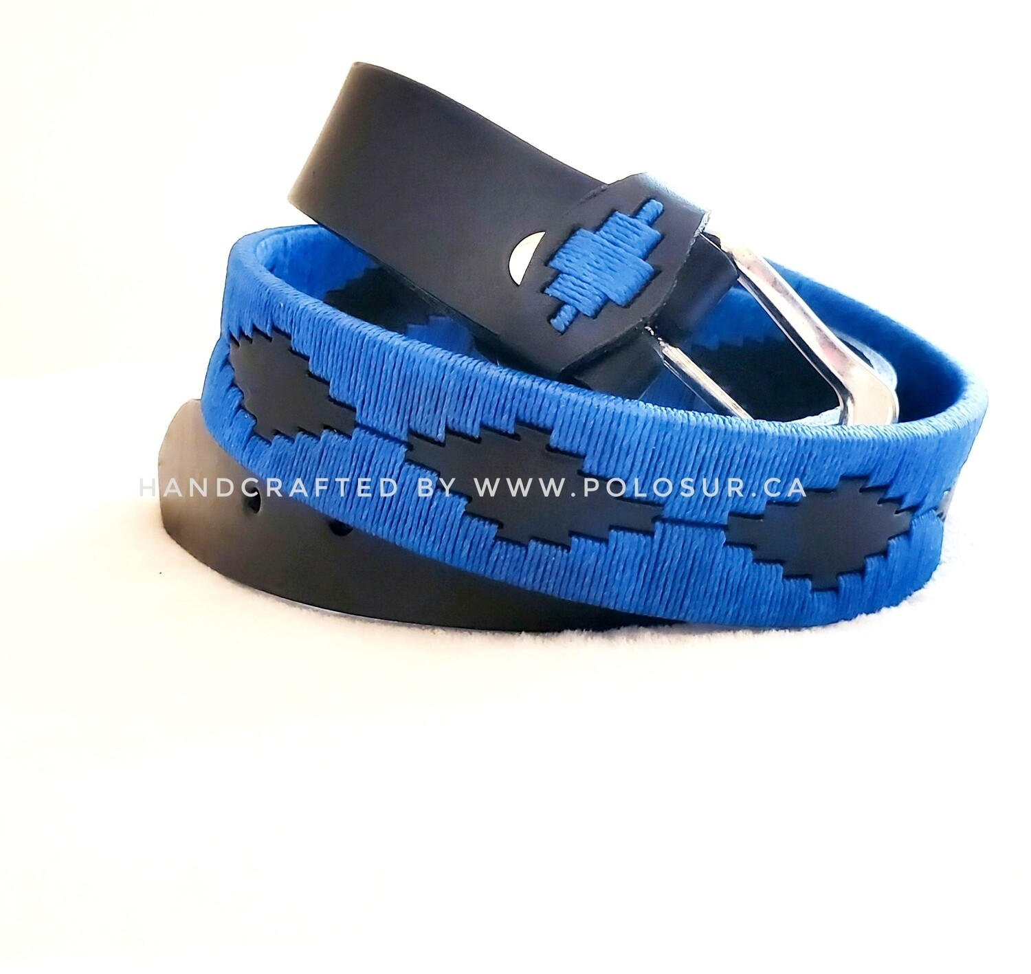 """Leather stitched Polo Belt Blue 90CM (32-34"""")"""