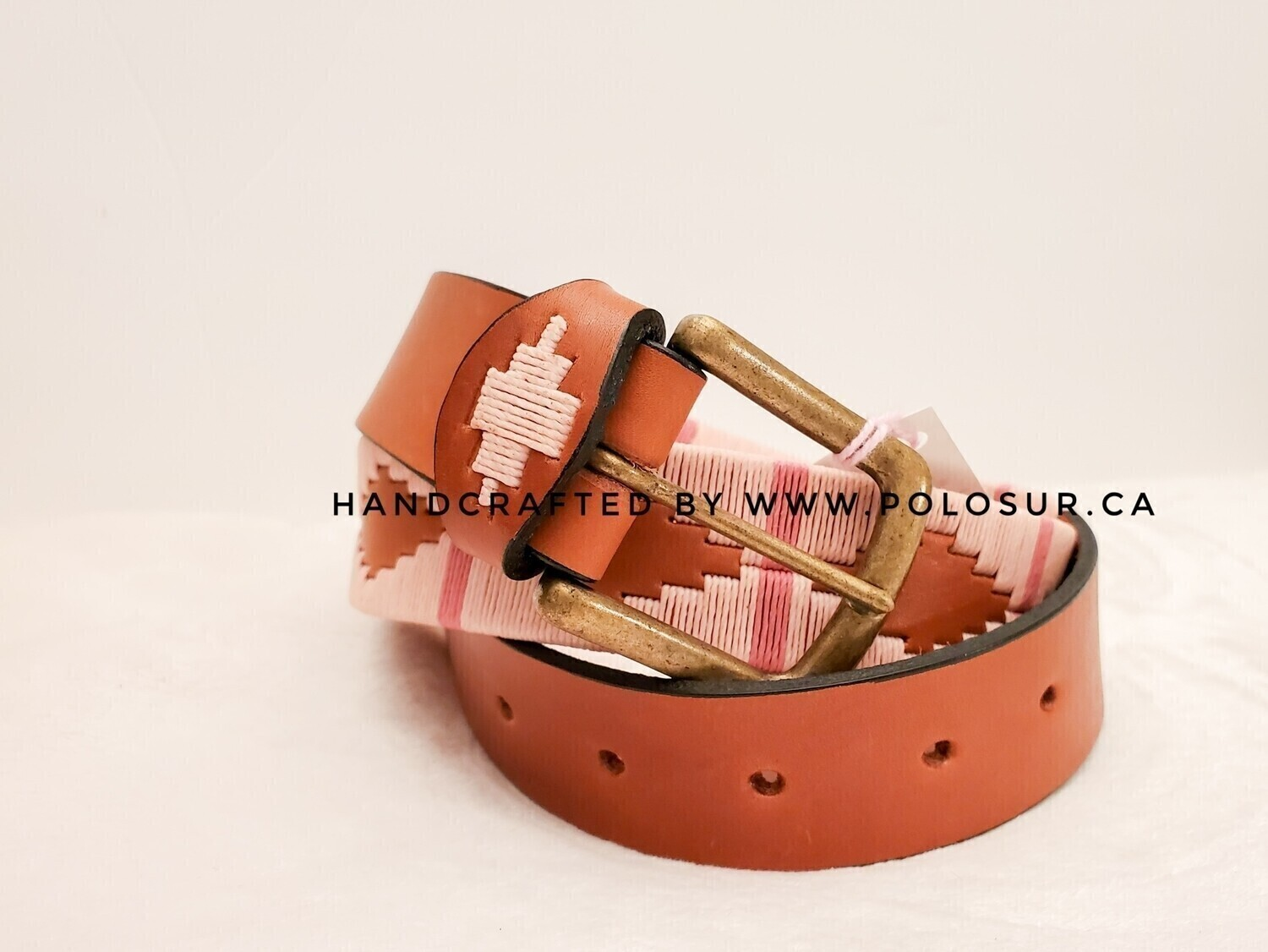 """Leather stitched Polo Belt Soft Pink 120CM (44-46"""")"""