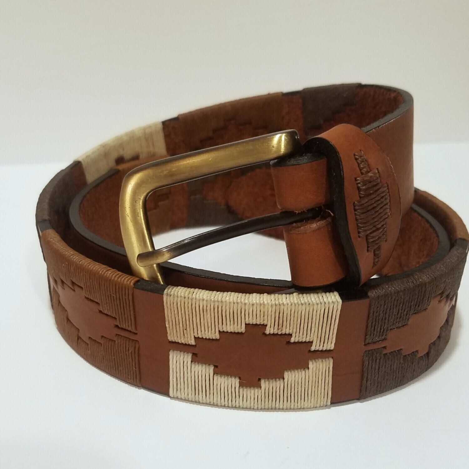 """Leather stitched Polo Belt Suelo 105CM (38-40"""")"""