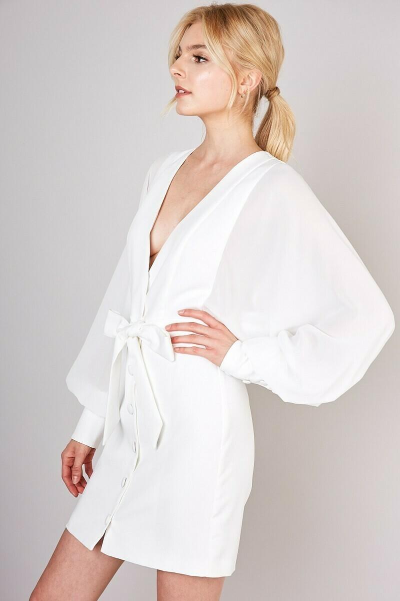 White Front Button Closure Belted Waist Dress