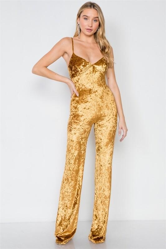 Tall Gold Crushed Velvet Jumpsuit