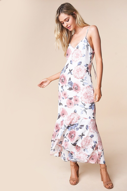 Floral Print Hi-Low Midi Dress