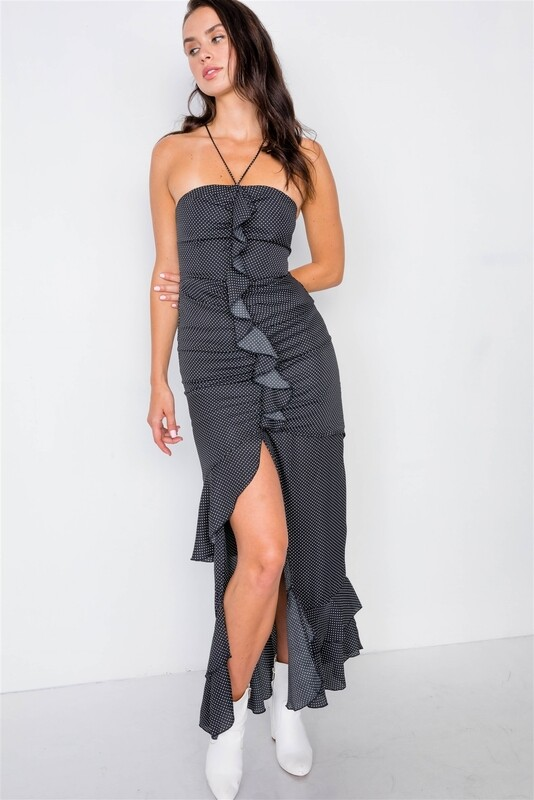 Black Halter Top Polkadot Midi Dress