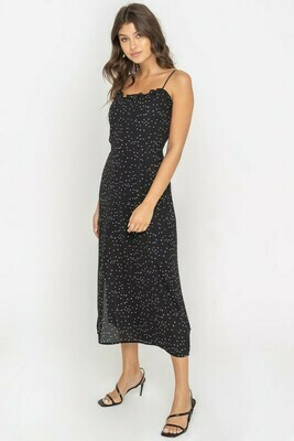 Black Flowy Ruffle Trim Midi Dress