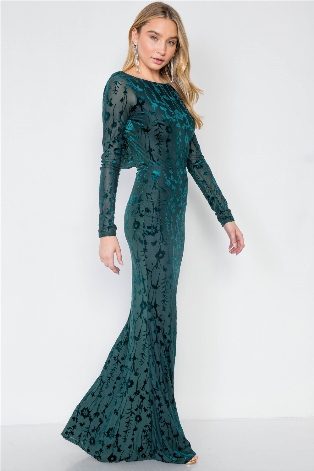Tall Emerald Green Floral Print Backless Evening Maxi Dress
