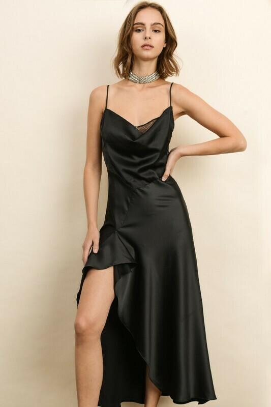 Black Lace Cowl-Neck Flare Dress