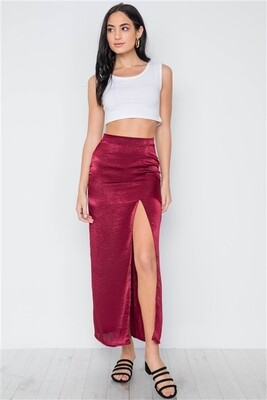 Tall Wine Red Bodycon Front Slit Midi Skirt