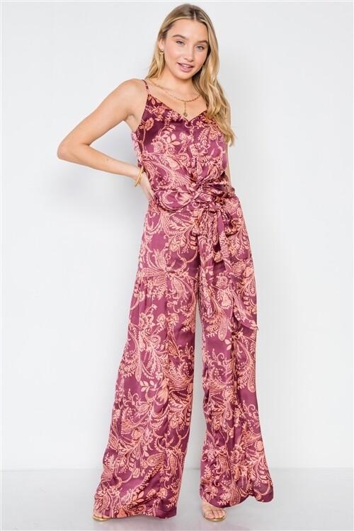 Tall Blush Satin Floral Crop Top Pants Two Piece Set