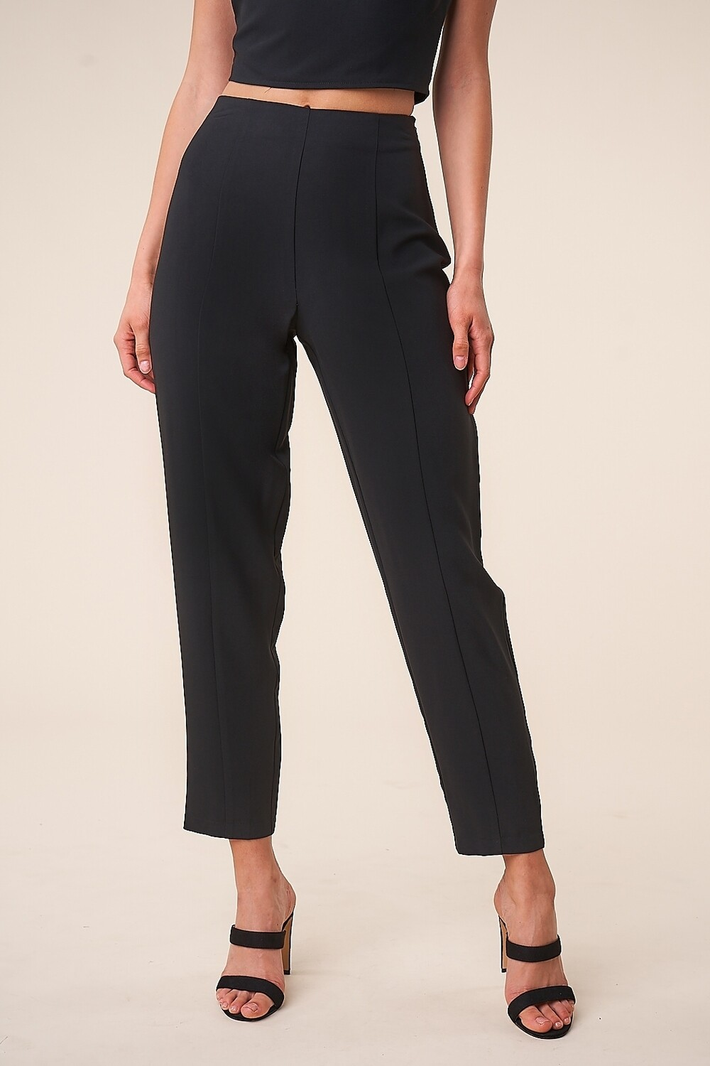 Black High Waisted Tapered Pants