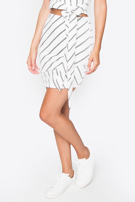 Navy Stripe Mini Skirt