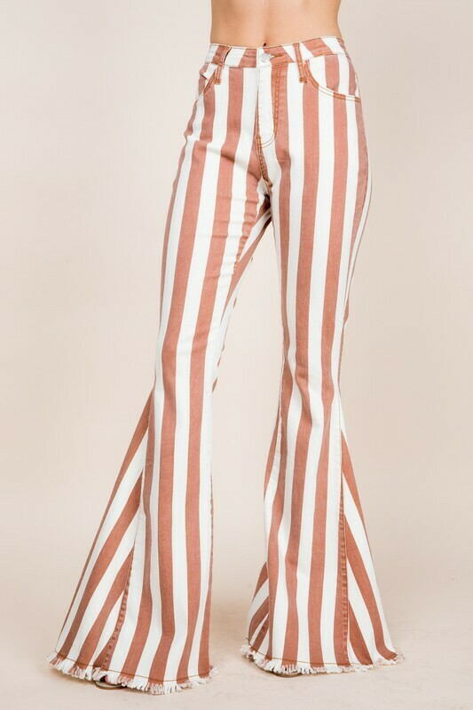 [PREORDER] Tall Boho Striped Denim Flares