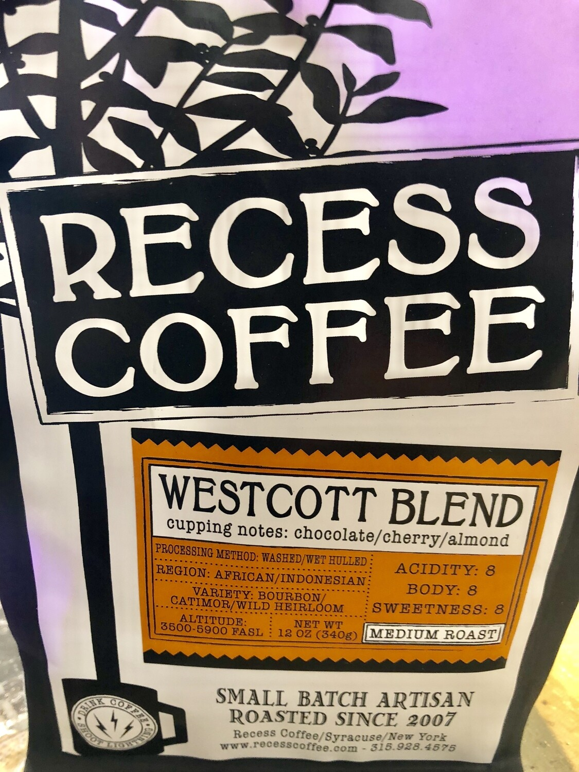 12 oz. Westcott Blend Coffee - Recess Coffee Roasters - Syracuse, NY