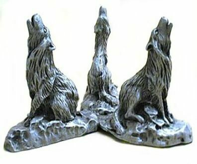 Base Crystal Ball Howling Wolf Pewter