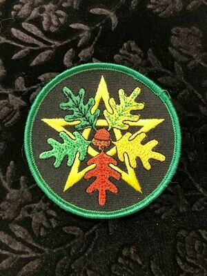 Patch Wiccan Oak Leaf Pentacle
